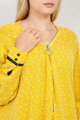 Yellow | Polka Dot Zip Neck Pullover