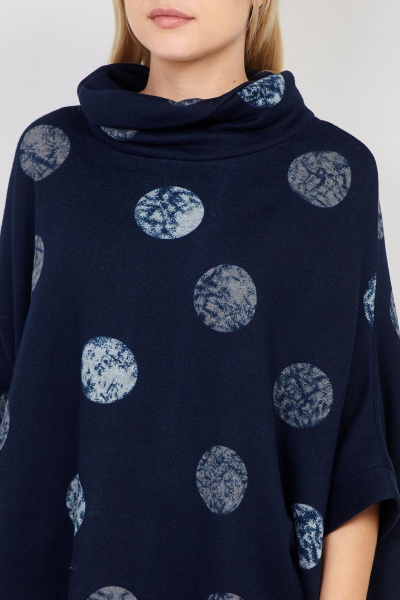 Navy | Circle Print Knitted Jumper