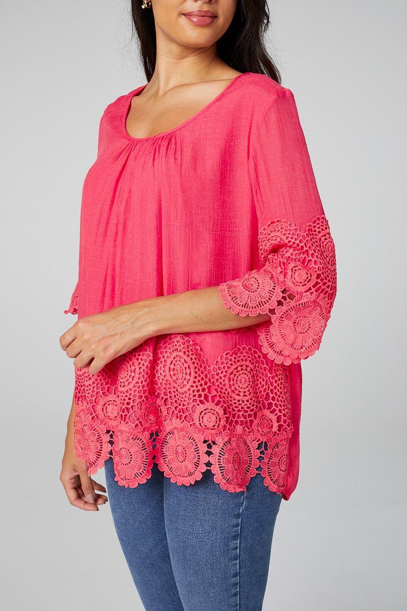 Coral | Lace Trim 3/4 Sleeve Blouse