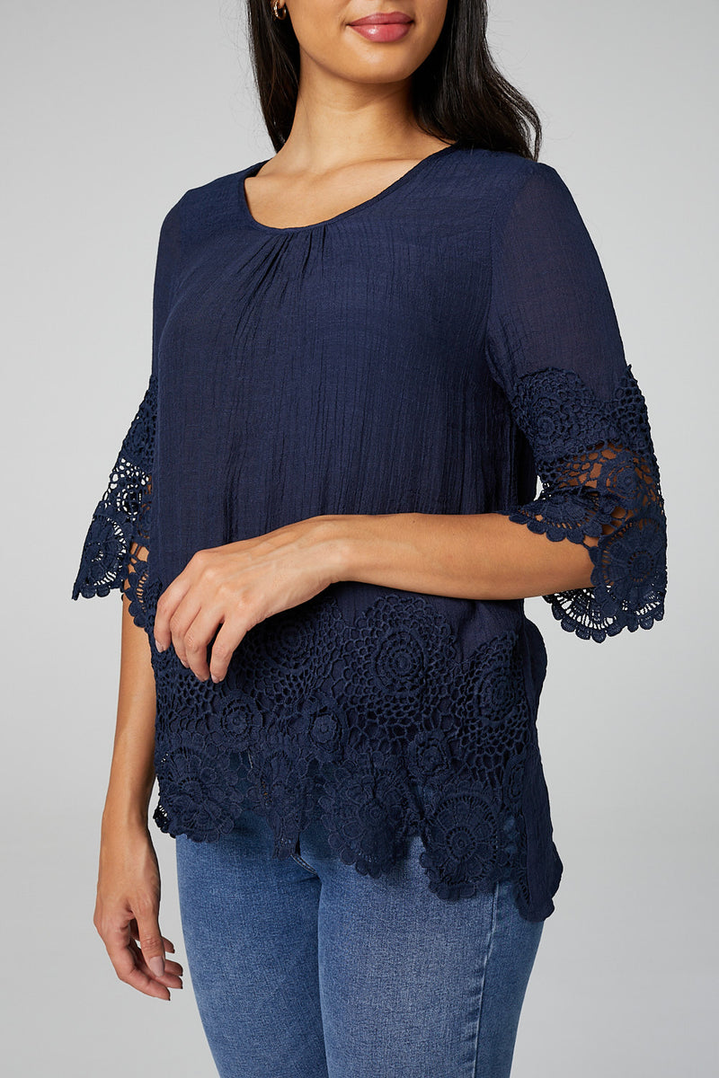 Navy | Lace Trim 3/4 Sleeve Blouse