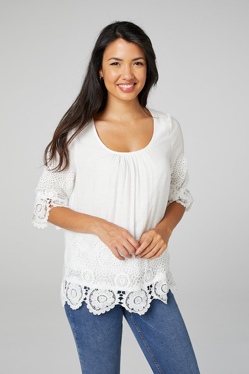 White | Lace Trim 3/4 Sleeve Blouse