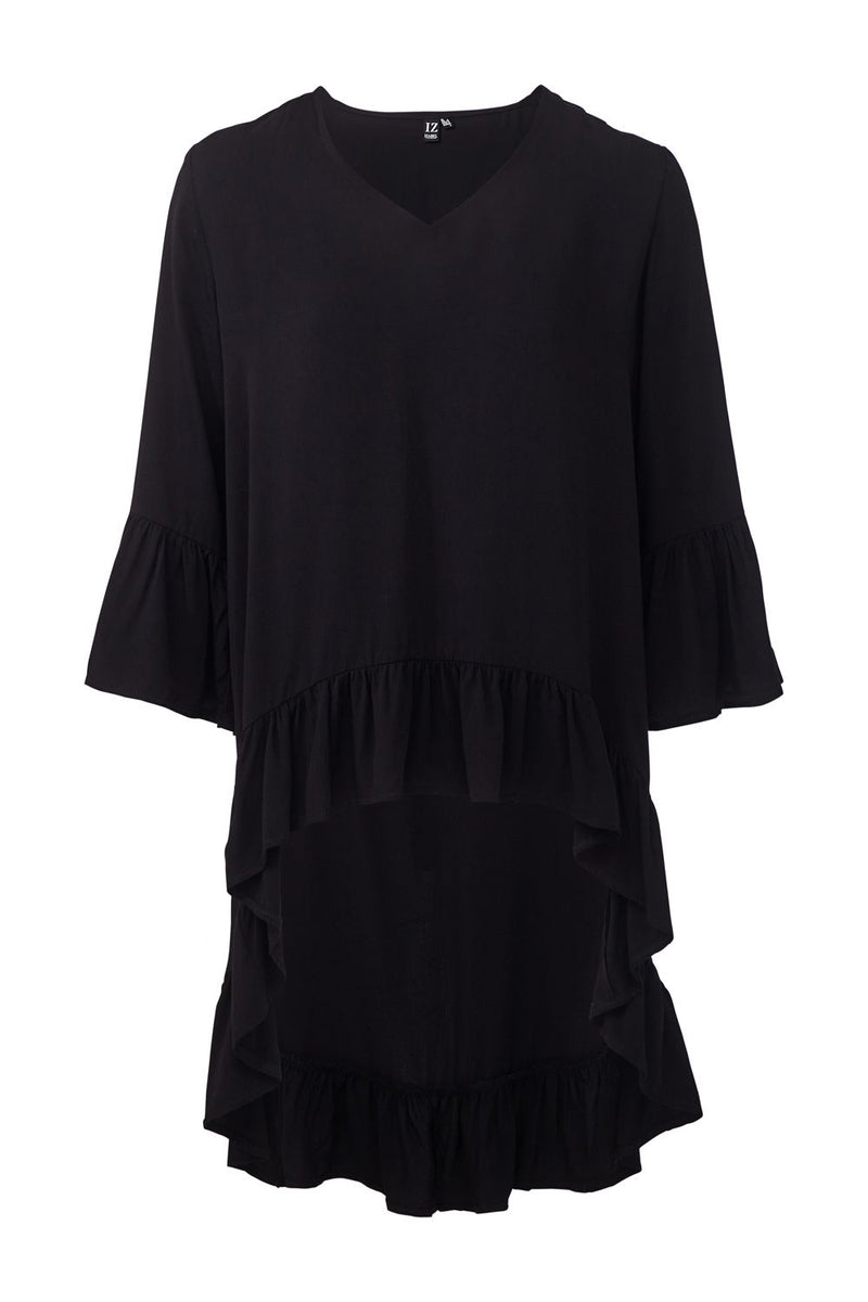 Black | Frill Detail High Low Blouse