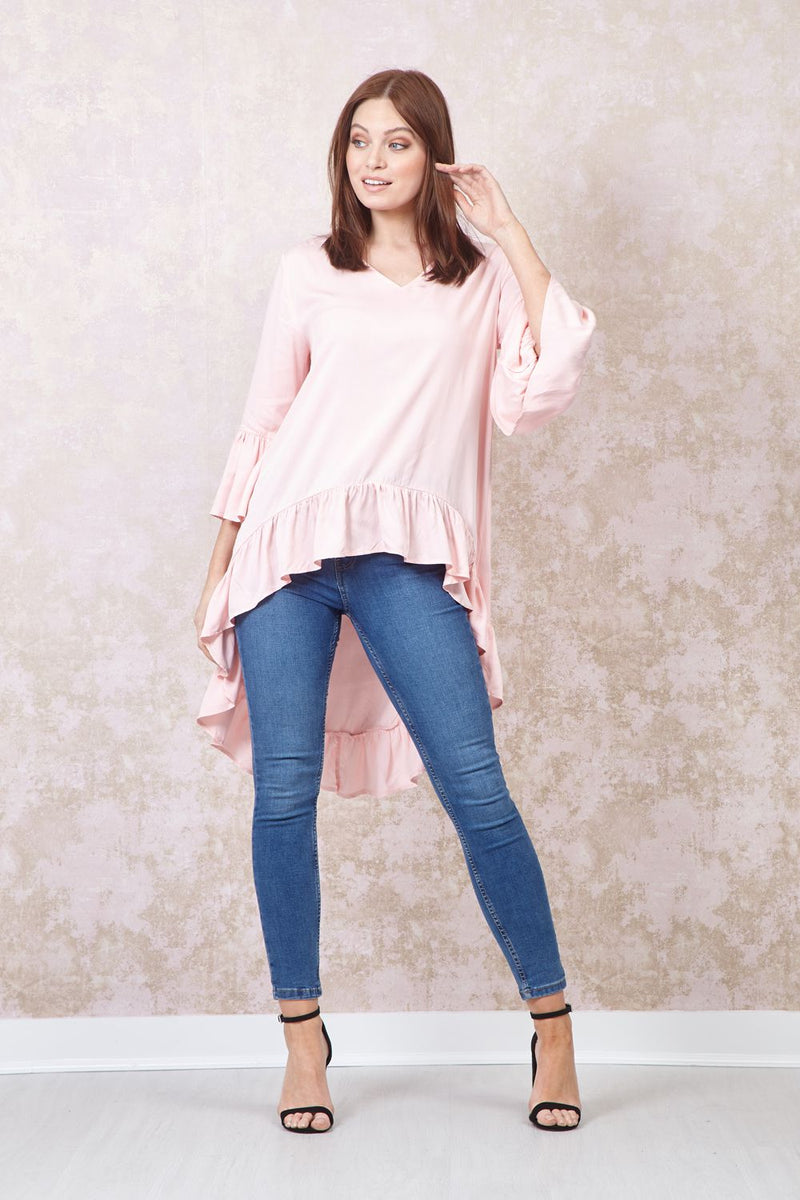 Pink | Frill Detail High Low Blouse