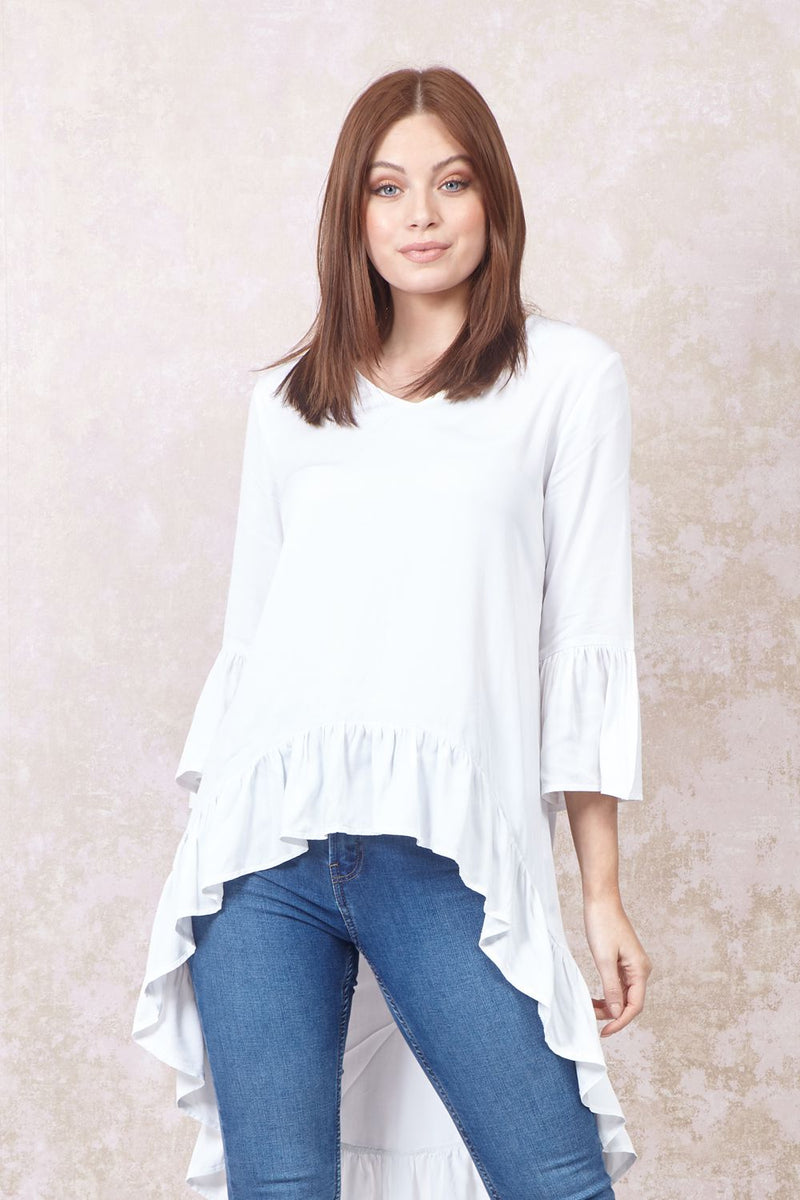 White | Frill Detail High Low Blouse