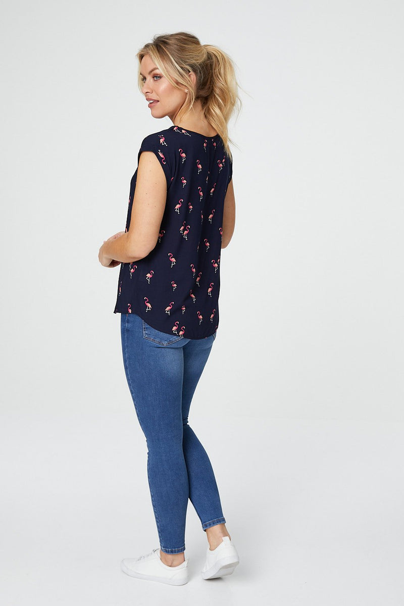 Navy | Flamingo Print Relaxed T-Shirt
