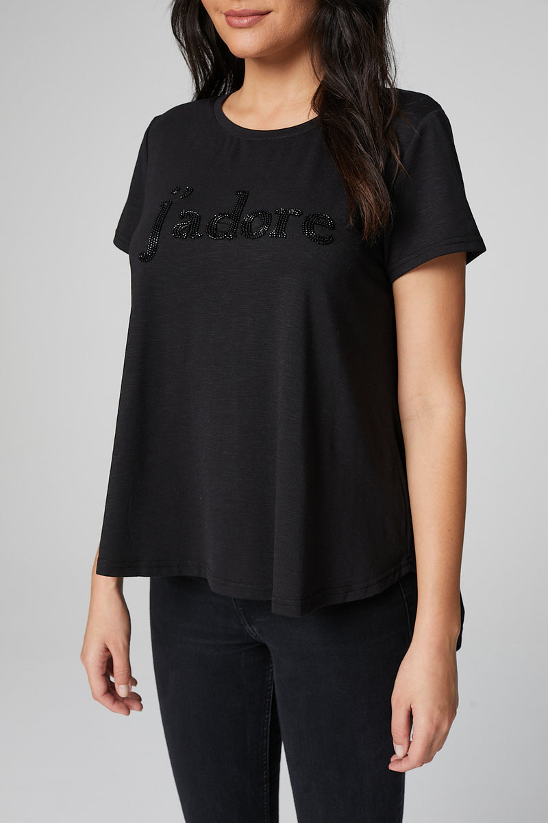 Black | J'adore Embellished Slogan Print T-Shirt