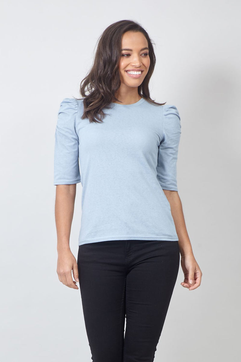 Blue | Ruffled Sleeve T-Shirt