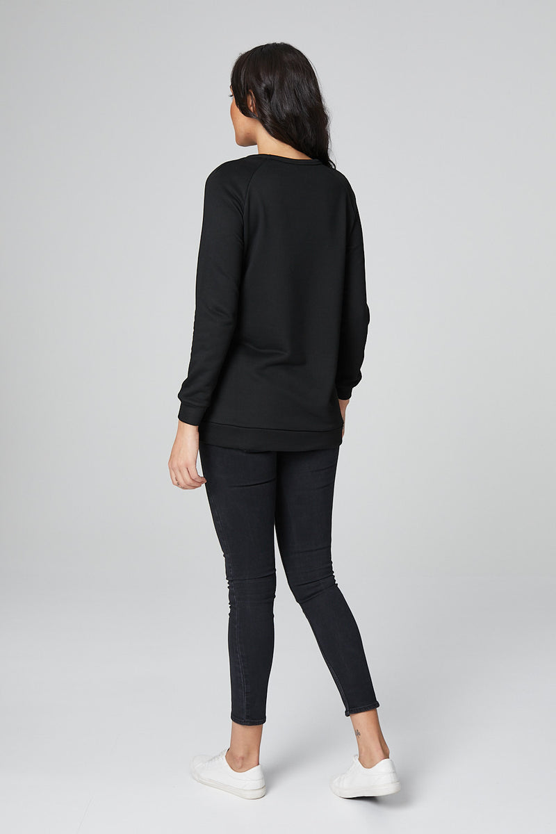 Black | Graphic Print Slouchy Jumper
