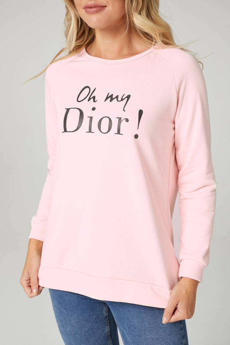 Pink | Graphic Print Slouchy Jumper