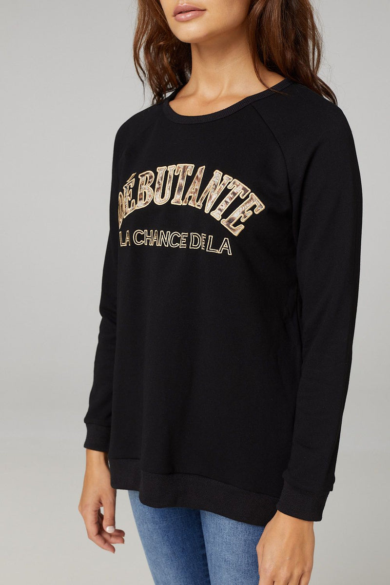 BLACK | Slogan Print Casual Jumper