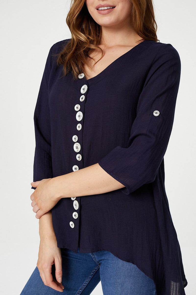 Navy | Button Front 3/4 Sleeve Blouse