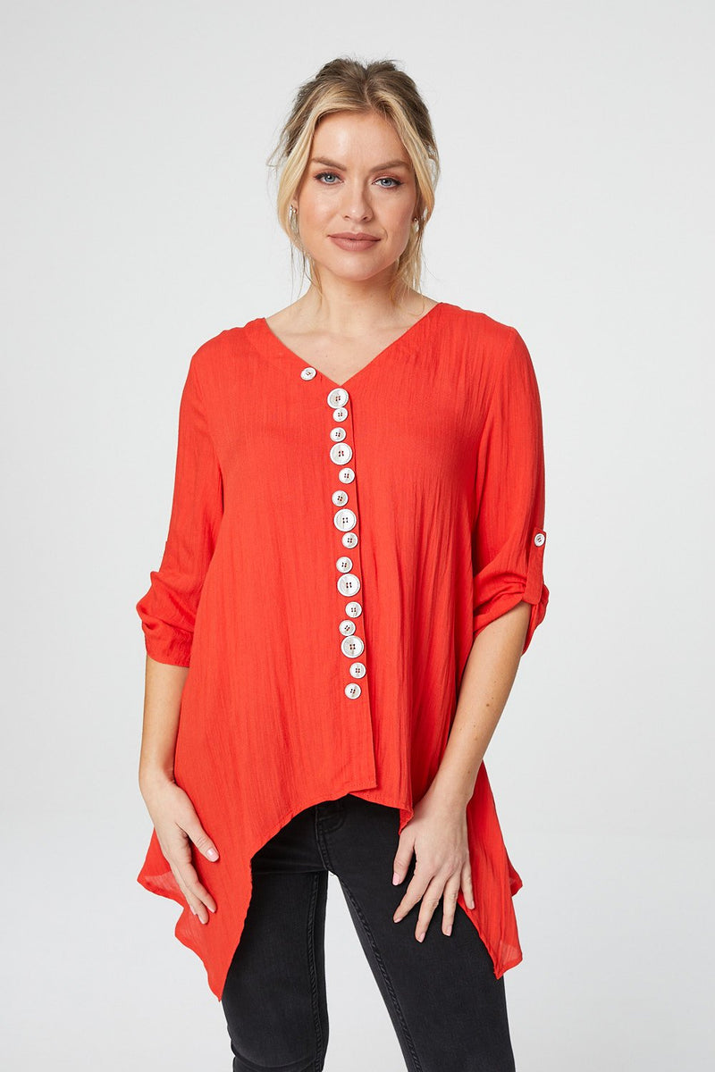 Orange | Button Front 3/4 Sleeve Blouse