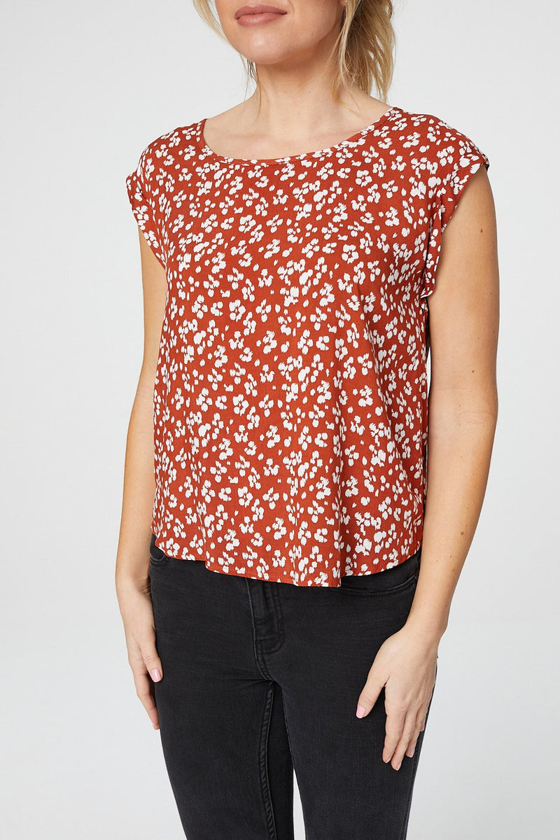 Rust | Floral Cap Sleeve T-Shirt