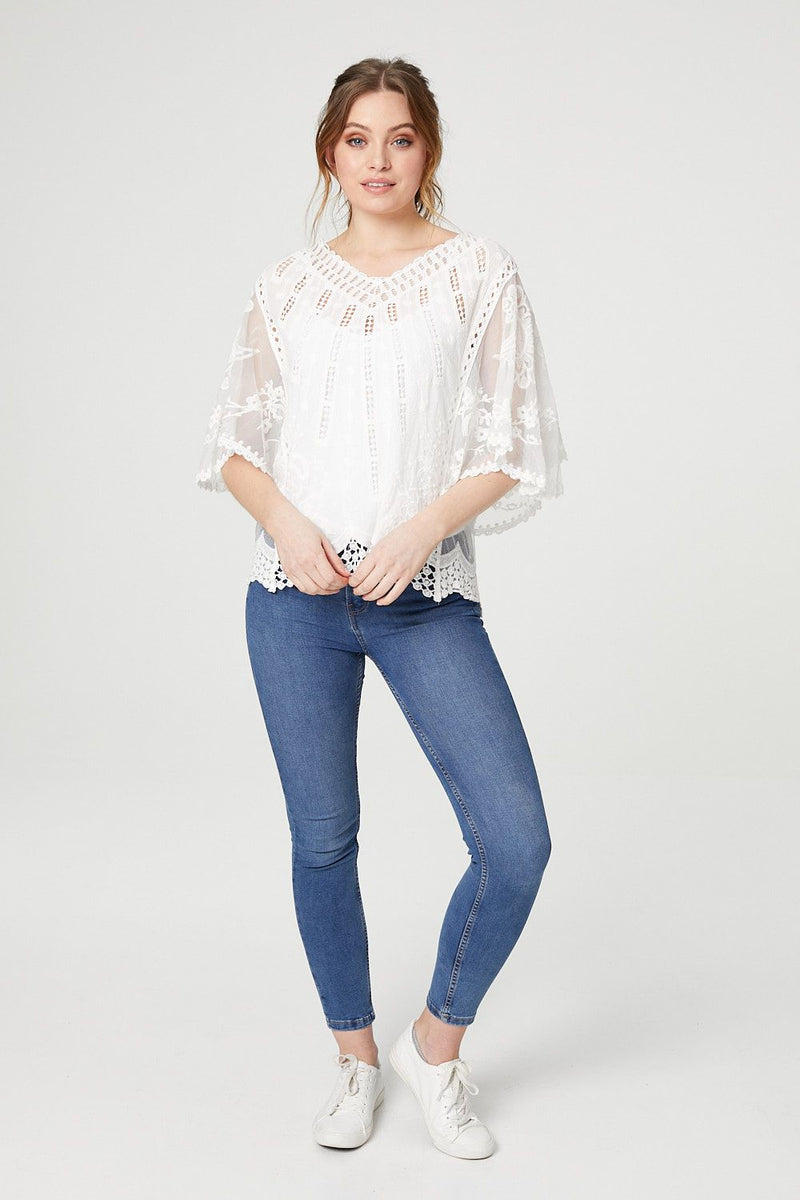 White | Embroidered Sheer Sleeve Top