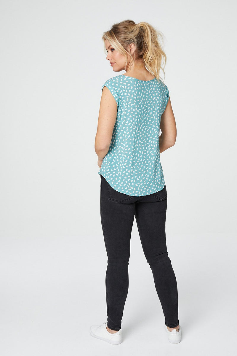 Teal | Ditsy Print Cap Sleeve Relaxed Top