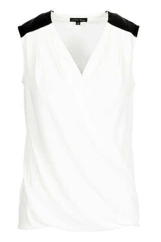 Feature Lapel Sleeveless Top