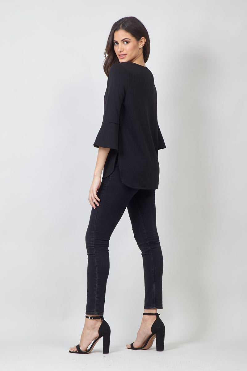 Black | Flared Sleeve Blouse
