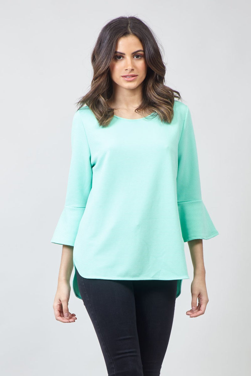Green | Flared Sleeve Blouse