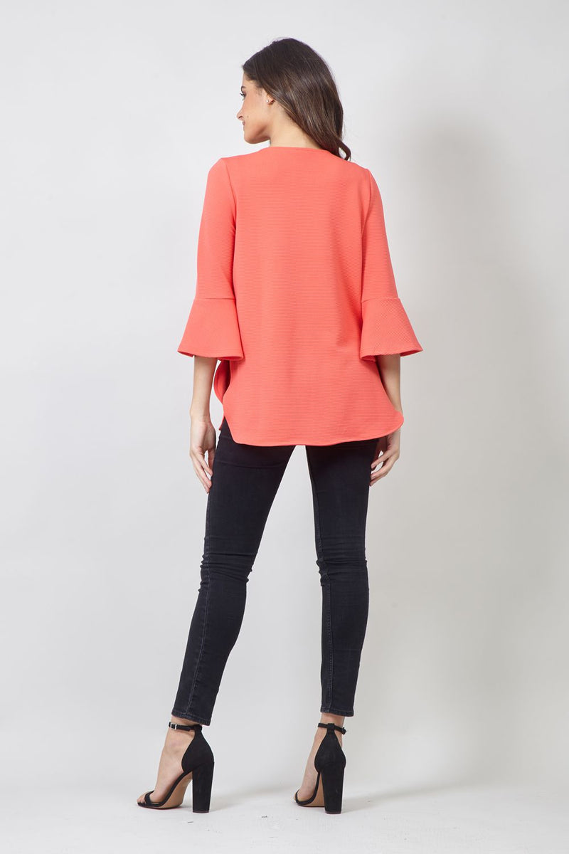 Orange | Flared Sleeve Blouse
