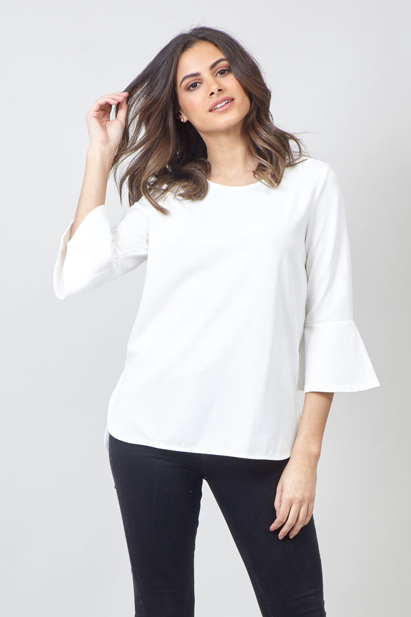 White | Flared Sleeve Blouse