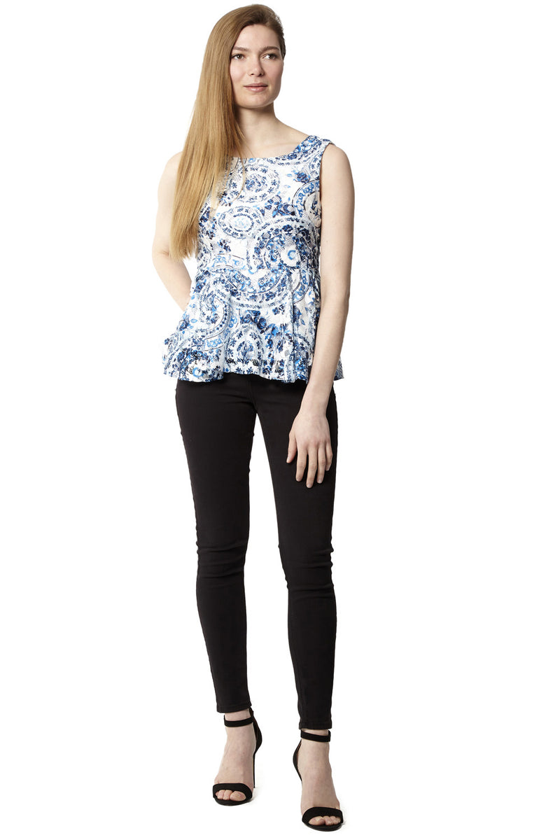 Blue | Baroque Peplum Top | Izabel London