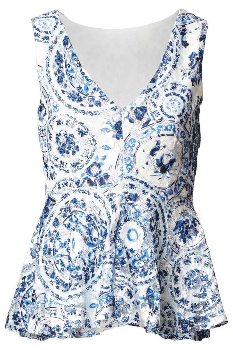 Blue | Baroque Peplum Top