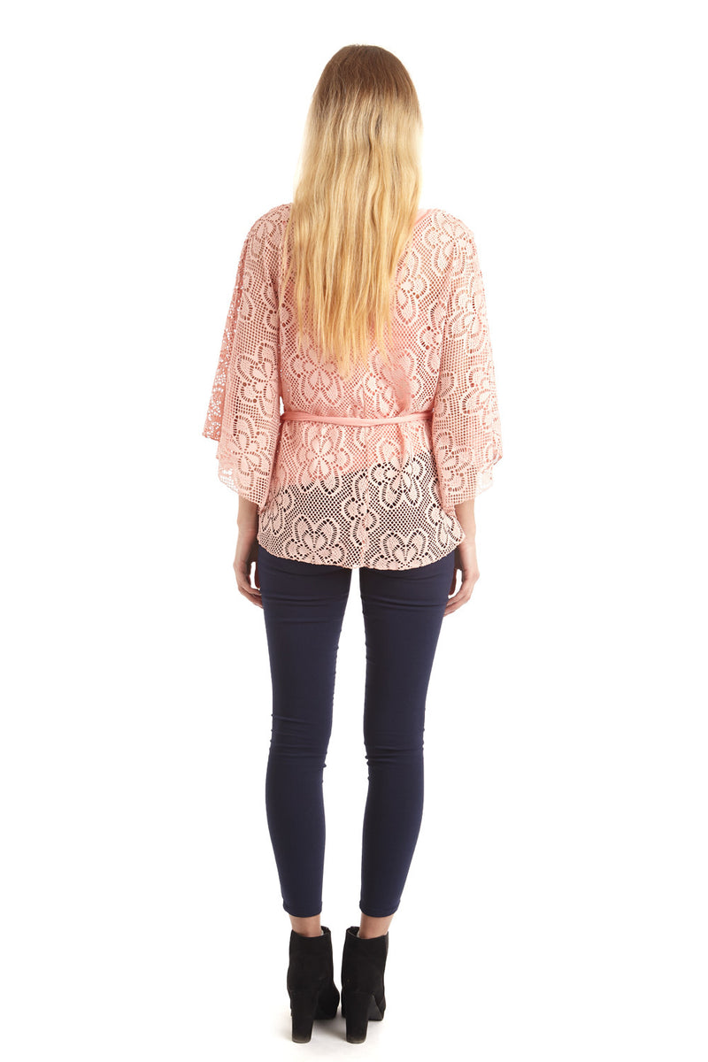 Pink | Lace Poncho Top With Tie Belt