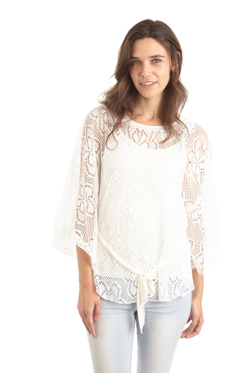 Ivory | Lace Poncho Top With Tie Belt