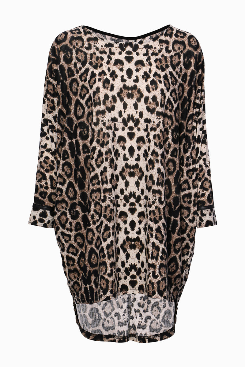 Leopard Dip Hem Jumper - Izabel London