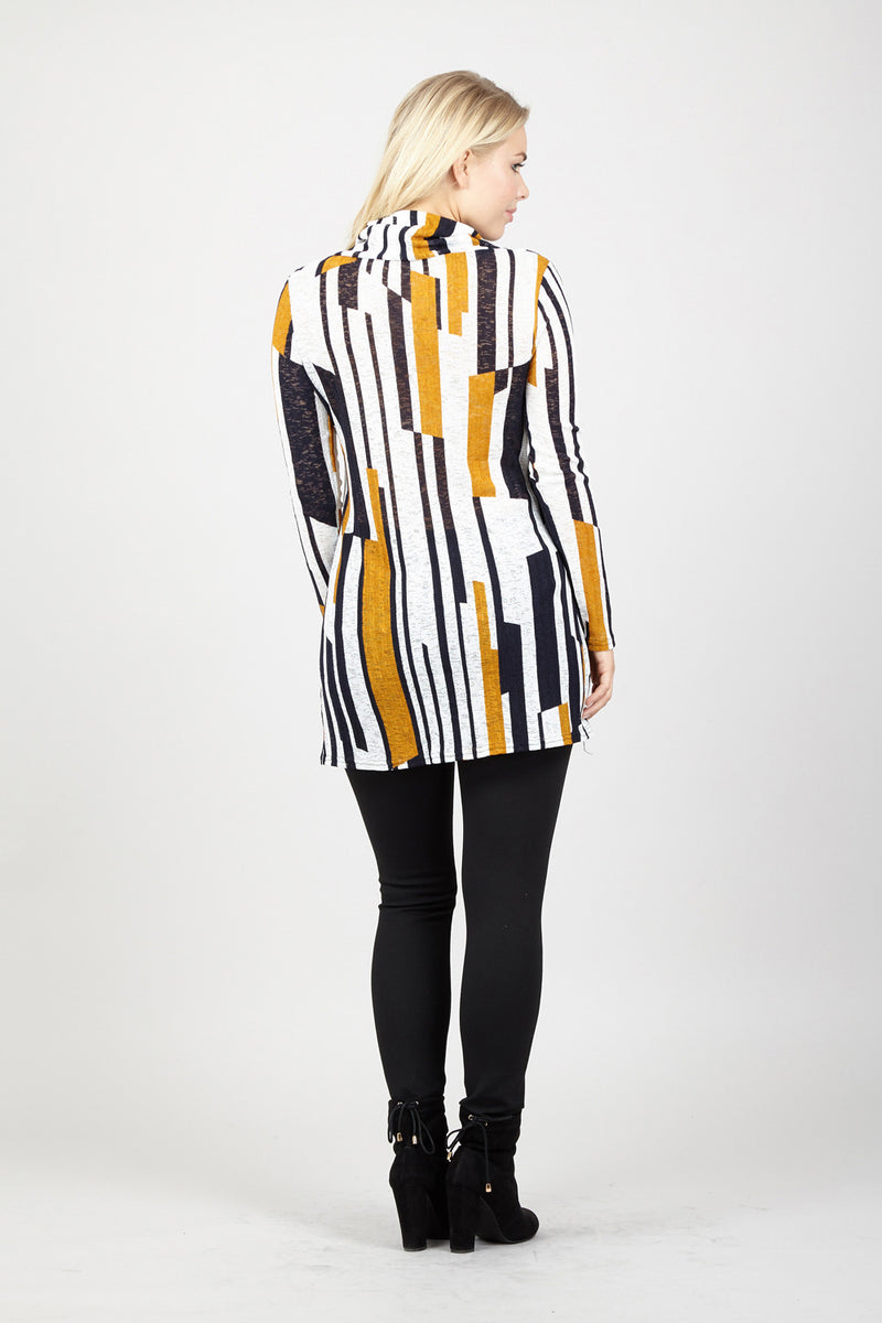 Striped Roll Neck Top - Izabel London