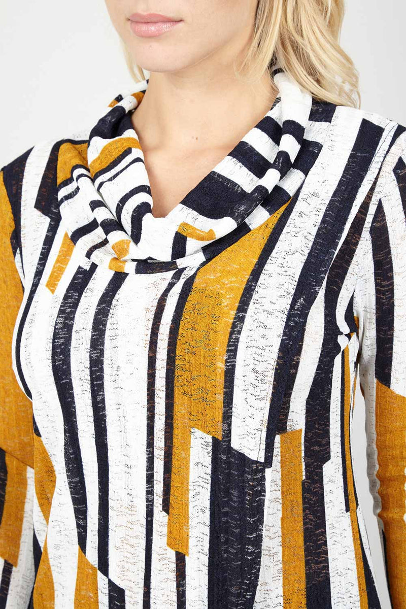 Mustard | Striped Roll Neck Top