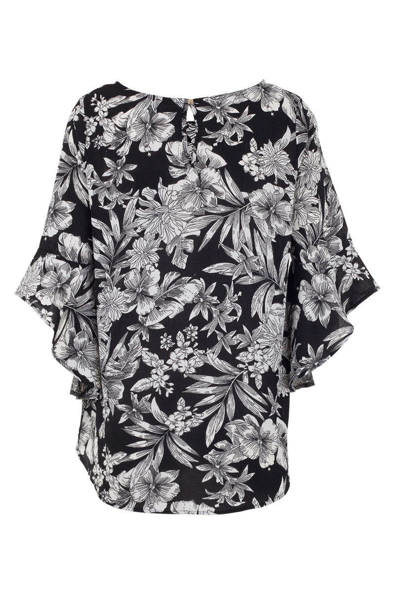 Floral Batwing Sleeve Top - Izabel London