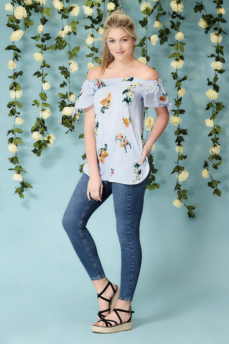 9797c727b1d78 Floral Bardot Top - Izabel London