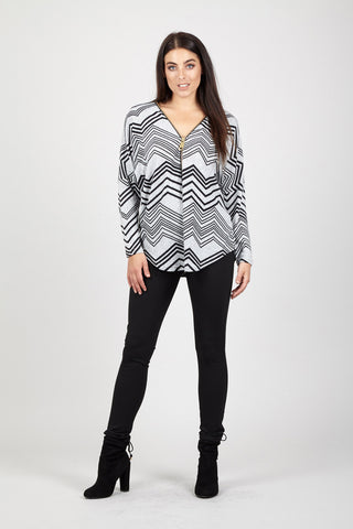 Stripy Flare Sleeve Top