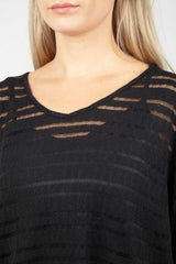Black | Sheer Stripe Oversized Top