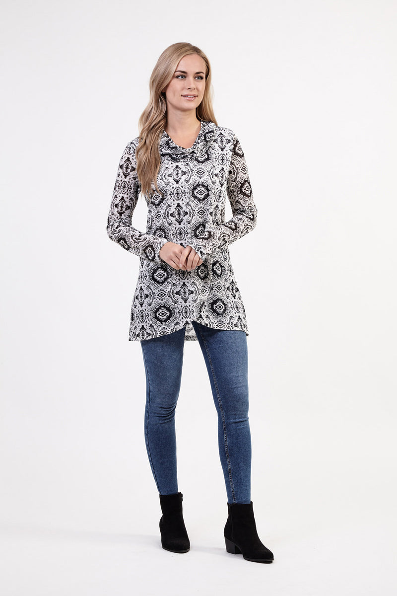 Damask Roll Neck Top - Izabel London