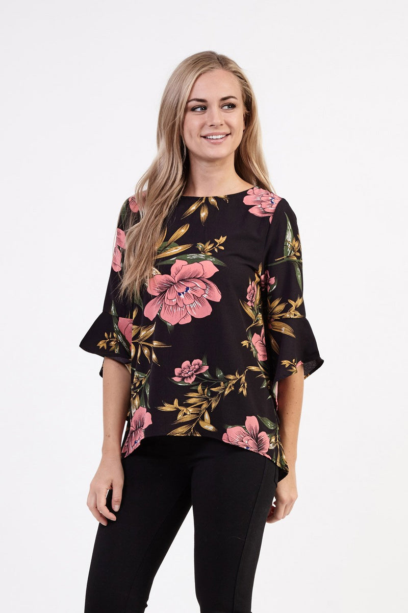c36c734c894021 Floral Shell Top - Izabel London