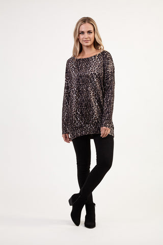 Animal Print Curved Hem Top