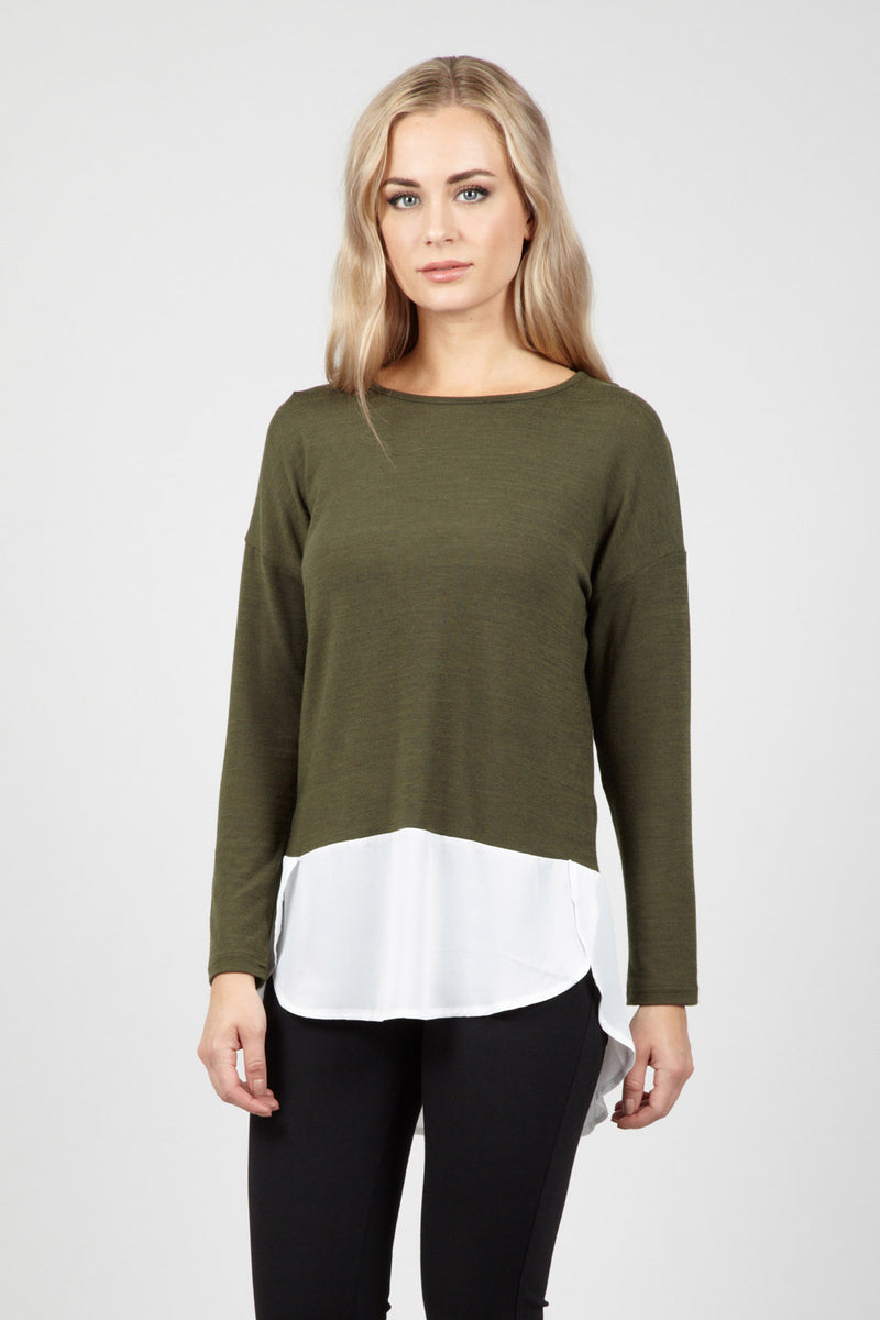 Green | Layered Knit Top | Izabel London