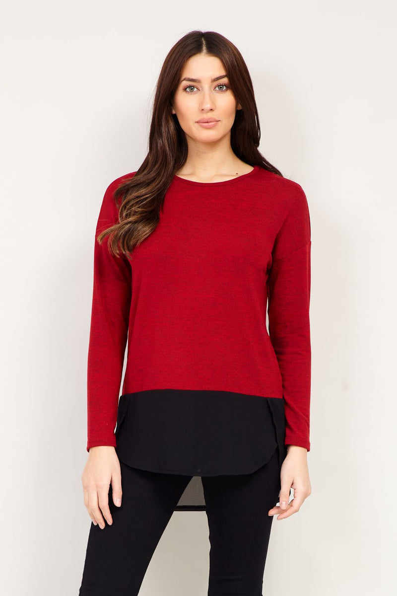 Red | Layered Knit Top | Izabel London