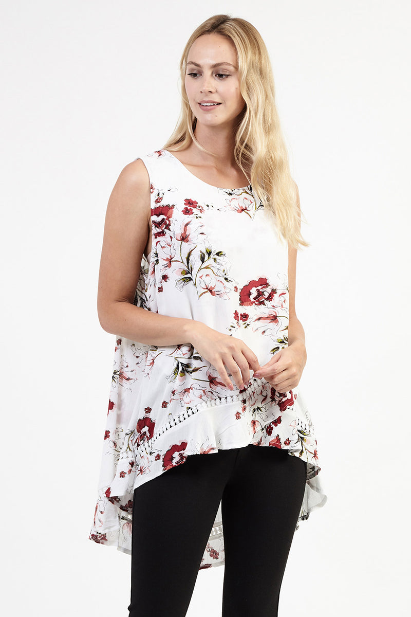 White | Floral Cross Front Top