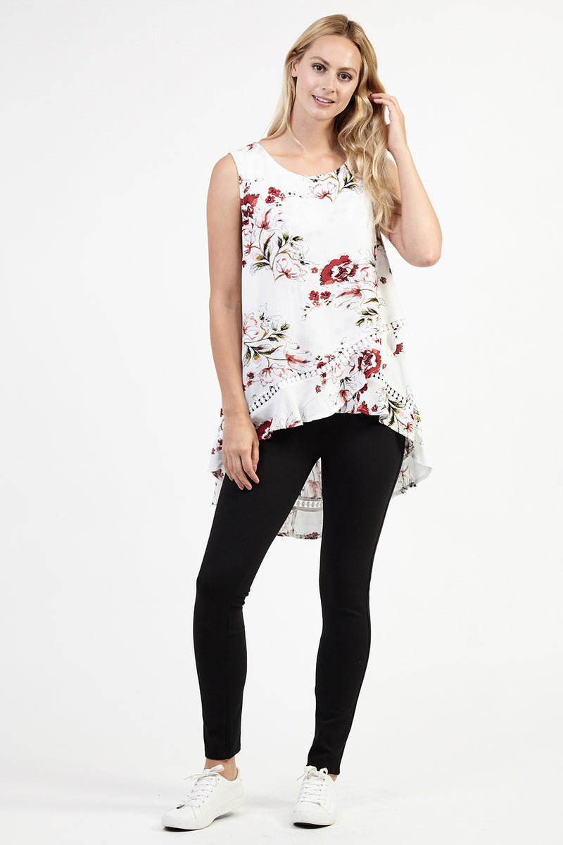 White | Floral Cross Front Top | Izabel London