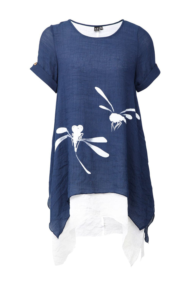 Navy | Dragonfly Print Layered Hem Top