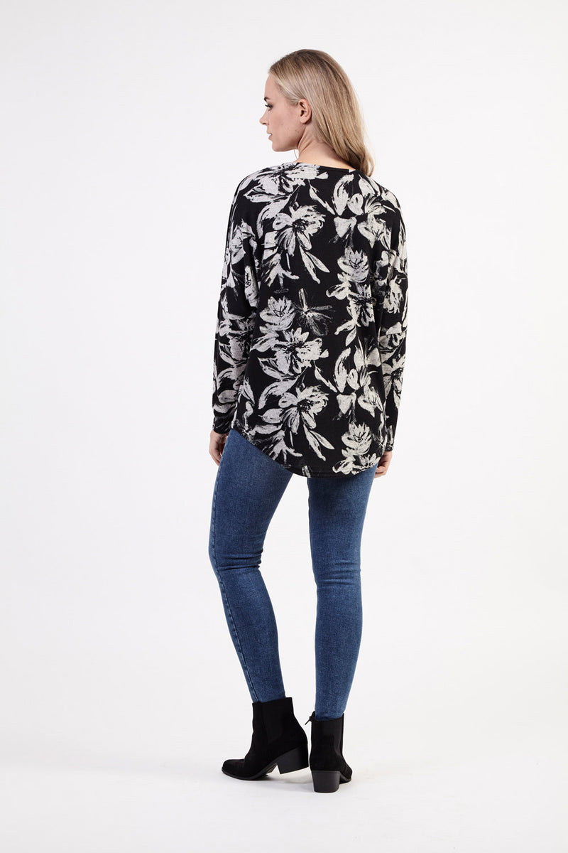 Floral Oversized Zip Top - Izabel London