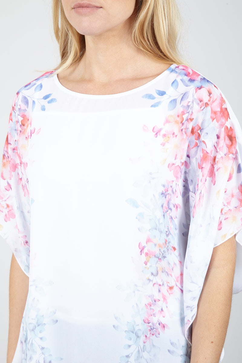 White | Floral Batwing Tunic Top