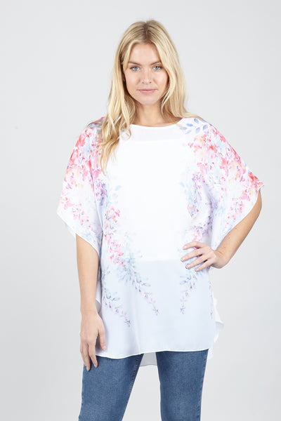 White | Floral Batwing Tunic Top | Izabel London