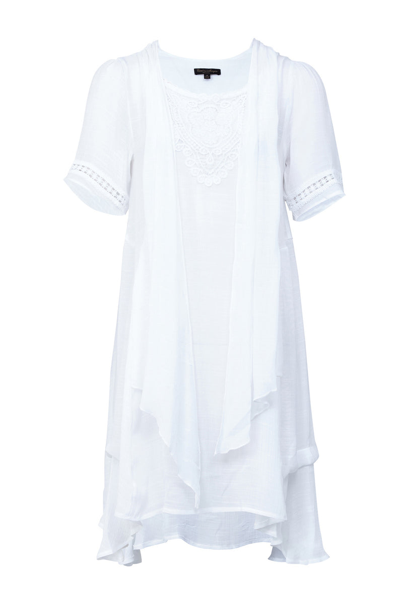White | Lace Detail Longline Tunic