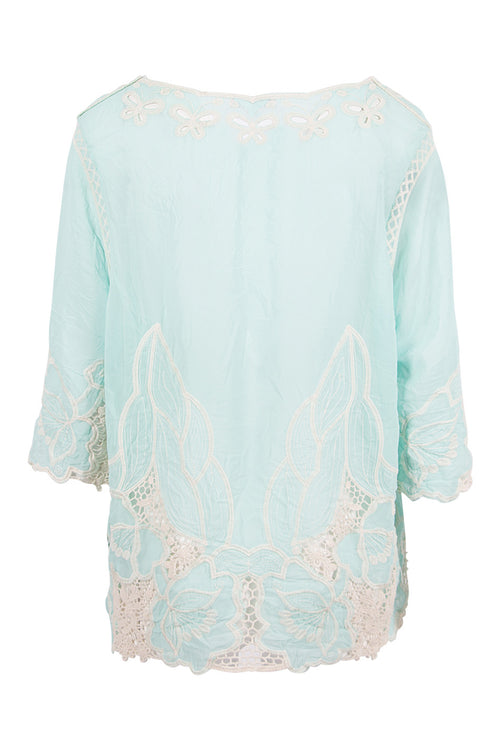 Embroidered Chiffon And Crochet Top - Izabel London