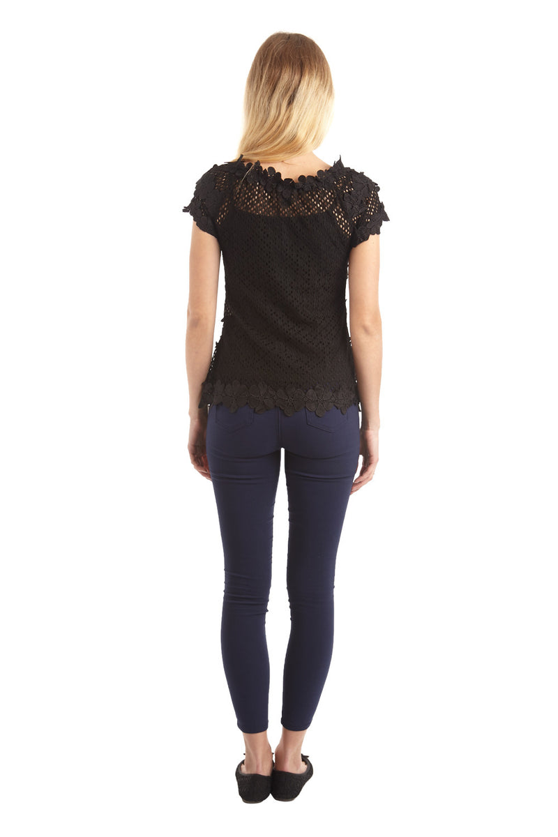 Black | Floral Appliqué Top