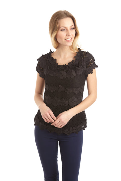 Floral Appliqué Top - Izabel London
